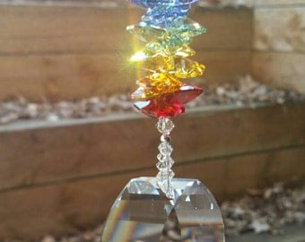 Rainbow suncatcher, energy gate crystal, crystal suncatcher, hanging crystal, window decoration, swarovski crystal suncatcher, rainbow maker