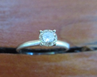 14k White Gold 1/2 carat Diamond Solitaire Engagement Ring Size 7