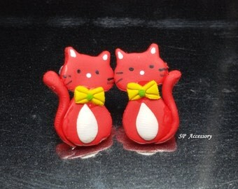 cat earrings, red cat earrings, clay earrings, earrings clay