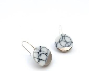 Silver marble earrings, porcelain jewelry, minimalist earrings, silver Ceramic jewelry, porcelain earrings dangle