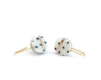 porcelain ceramic earrings - porcelain jewelry - gold white porcelain - minimalist gold earring - bridesmaid earrings - gift for her