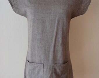 100% Organic Cotton Gray Tunic - women's tunic, gray cotton tunic, handmade cotton tunic, women's gray cotton tunic