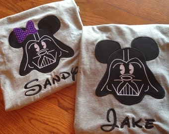 Darth Vader Mickey and Minnie Mouse personalized t-shirts.