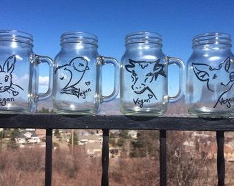 Vegan animal mason jar style clear glass mug