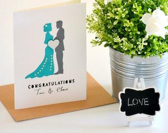 Wedding Card - Wedding Congratulations Card - Bride and Groom - Turquoise Wedding - Greeting Card - Teal/Aqua- Grey - Personalised - WED009