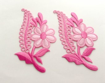 2 pcs Pink Flower Patch  / Embroidered Flower Patch /Embroidered Iron on Patch / Flower Applique-Size 6.8 x 12.3 cm
