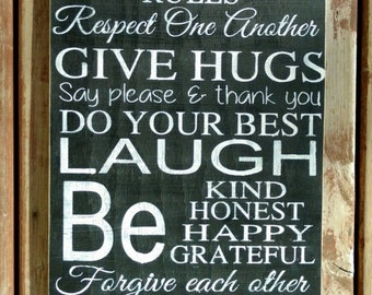 """Large Family Rules Sign, family rules wall decor, Personalized hand painted rustic, subway art, Wedding gift, housewarming gift, 15x36"""""""