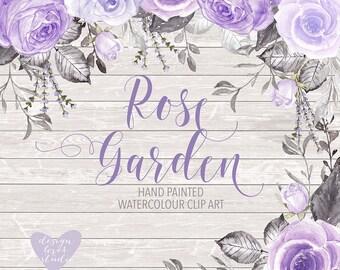 Watercolor Rose Purple clipart, watercolor flower, Purple Floral Clipart, Leaf clipart,  Wedding Clip Art, wedding invitation, lavender