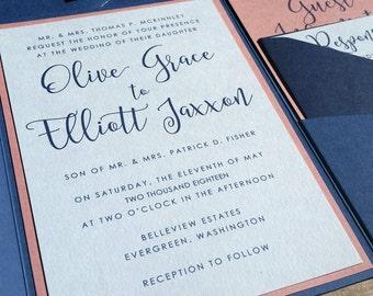 Blue and Pink Wedding Invitation Suite, Wedding Invitation, Pocketfold Wedding Invitation, Cobalt Dusty Pink, Pocket Fold