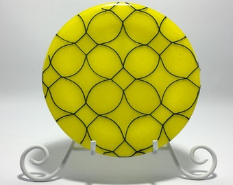 Yellow and Blue Dinner, Dessert or Salad Plate