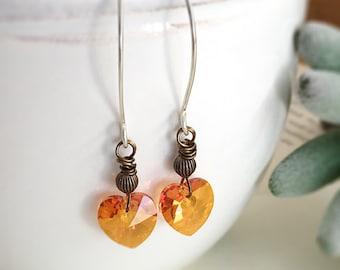 Astral Pink Crystal Heart Earrings, Swarovski Crystal Heart Charms Mixed Metal Earrings, Sterling Silver, Long Earrings