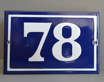 Old French enamel house number SIGN . Door street address gate PLATE PLAQUE Enamel steel metal 78 Blue