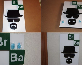 Breaking Bad Walter White Heisenberg face Action Figures Blue Sky replica wood