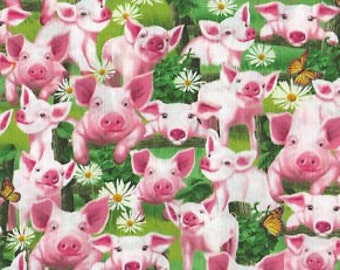 Happy Pigs, Pink Fabric, Pig Fabric, Butterflies, Flowers Fabric, Timeless Treasures 3969 fabric / 1/2 Yard Cuts / 1 Yard Cuts / Fat Quarter