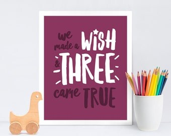 We Made a Wish New Baby Triplets Print / Newborn Triplets Print / New Baby Triplets Gift / Nursery Print / Free UK Postage
