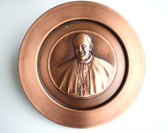 Decorative plate handmade in copper-the Holy Father-Bergoglio-