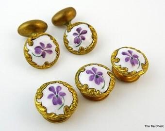 Antique Cufflinks Dress Set Shirt Studs Buttons Floral Woman's Enamel Vintage