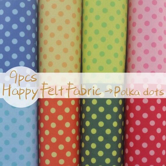 Polka dots felt fabric 3020 cm 9sheets pack printed for Polka dot felt fabric