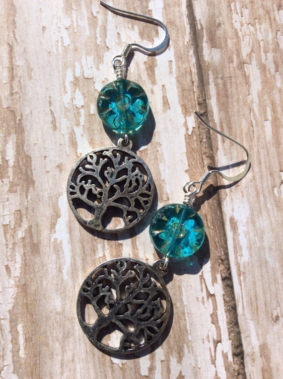 Crystal Blue Persuasion...Dangle Earrings, Translucent Picasso Glass, BohoGlam, VintageStyle, Tree Charms, JustSlightlyVintage