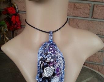 Fiber Necklace, Fiber Jewelry, Fabric Necklace, Blue Necklace, Unique Pendant, Jewelry. Pendant