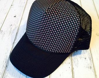 Fall hat, hat for fall, floral hat, black trucker hat, black floral fashion, black floral hat, floral trucker hat