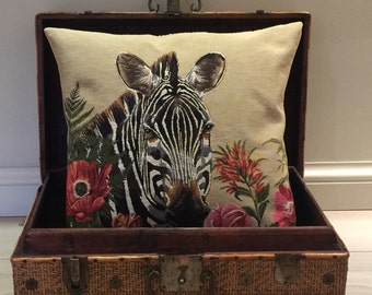 jacquard woven belgian tapestry cushion pillow cover zebra with tropical flowers