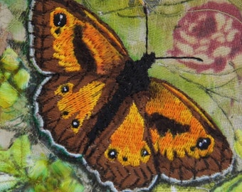 Gatekeeper Butterfly Mounted Embroidery Collage