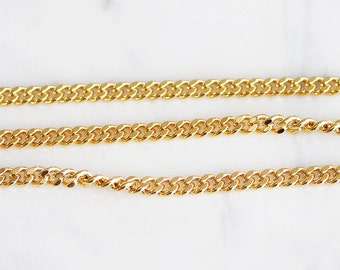 B5-10-G] Gold plated / 3.5mm / Curb Chain / 1 meter