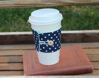 Reusable Coffee Cup Sleeve, Coffee Cup Cozy, Navy Blue and White Polka Sot Cup Cozy, To Go Coffee Cup Cozy, Ready to Ship