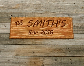 Custom Wood Sign, Family Name Sign, Rustic Wood Sign, Carved Wood Sign, Family Established Sign, Custom Sign, Wood Sign