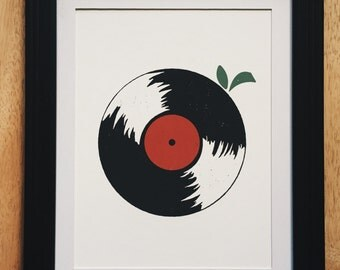 Vinyl Record Art, Fruit Print, Music Art