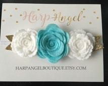 Aqua Teal & White Felt Rose Flower Crown Headband Newborn / Baby / Toddler / Girls