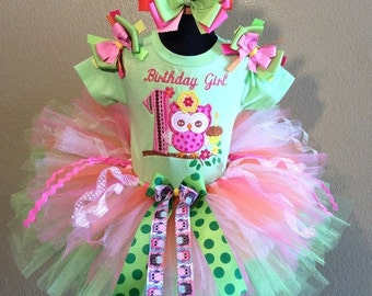 3 Pc Owl Lime and Pink Tutu Set and Bow Headband Ages 1-6,Toddler, Big Girl Sizes 6m-6yr - Look Whoos Two
