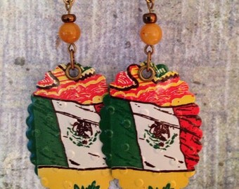 Upcycled Tea Can Earrings with Mexican Flag