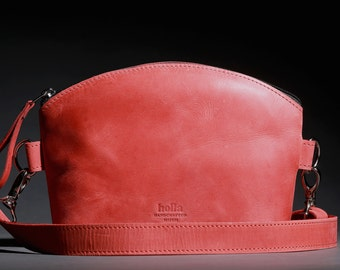 Leather Cross Body Bag, Red Small Leather Bag, Crossbody Purse, Small Handbag, Wife gift, Girlfriend gift,  Gift idea for woman