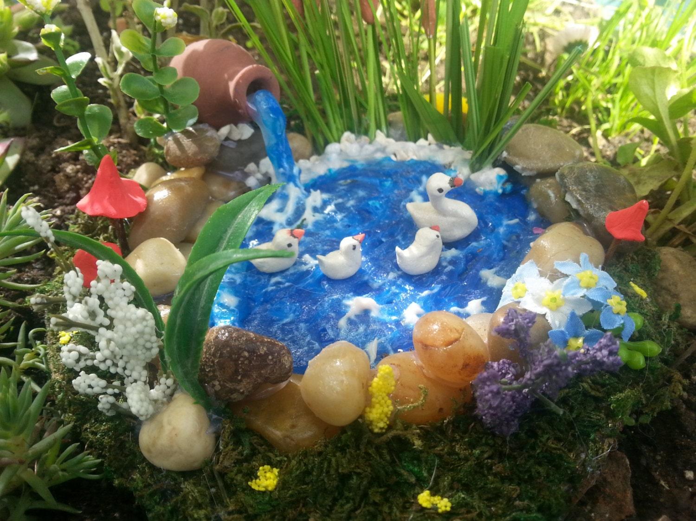 Miniature garden duck pondfairy garden by thetinyshinycottage for Garden duck pond design