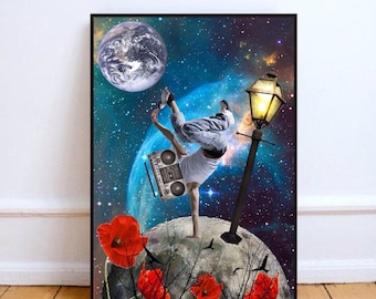 """Hip hop print, boombox art, moon art print, mixed media collage art, surreal collage art, space wall art, poppy print - """"Universe is music""""."""