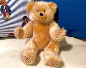 Vintage Plush Brown Teddy Bear Toy Doll with Movable Arms & Legs