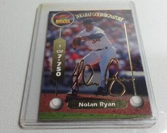 1994 Vintage 24 Karat Gold Signature Rookies Baseball Card Nolan Ryan. Has COA
