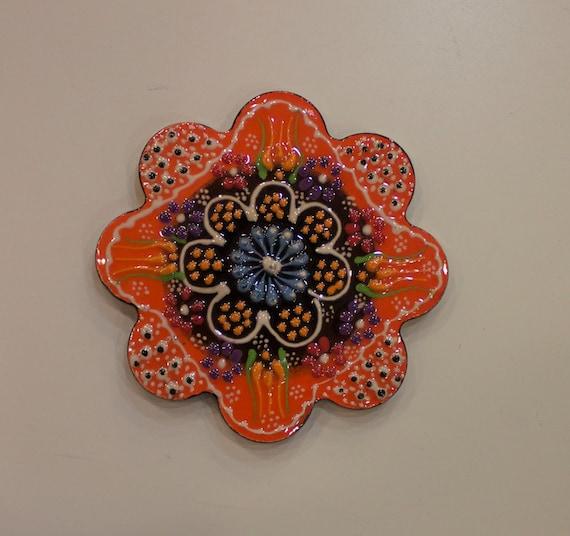Little Coaster, Little Tile, Orange Black Coaster, Tea and Coffee Coaster, Little Ceramic Tile, Pottery Coaster, Relief Tulip Design Ceramic