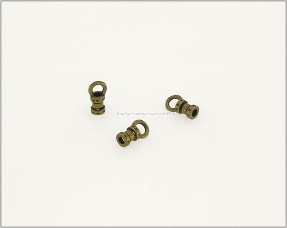 10 pc.+  1.5mm Crimp End Cap, Crimp Ends, Cord Ends for Leather Cords & Chains - Antique Brass