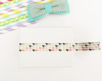 Colorful pastel houndstooth washi tape, cute deco tape, paper tape, cute tape,houndstooth deco tape, packaging, wrap tape,pastel colours