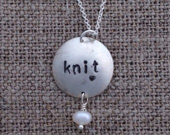 knit necklace - sterling silver, fresh water pearl