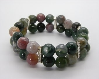 Indian agate of 10 mm 3 row BRACELET