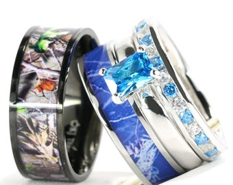 His And Heru0027s 4pc Blue Camo Stainless Steel Band 925 Sterling Silver  Sapphire Wedding/Engagement