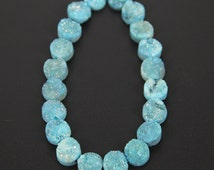 10mm Round Druzy Agate Beads,Sky Blue Druzy Drusy Agate Beads for DIY Necklace or Bracelets,Merry Christmas Gift Item to Girl Friend