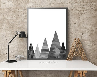 Watercolor Abstract Mountain Hills, Wall Art Printable 18x24 11x14, Monochrome Wall Art Poster Black White, Modern Boy gift Decoration