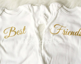 Best Friends Iron On, Non-Shed Glitter, Gold, Iron On, Twins, Gold Glitter, Baby Girl, DIY, Heat Transfers, Best Friends Set