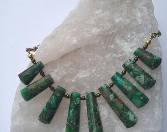 Green Jasper Fan Necklace