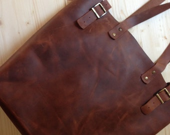 Large Brown Leather Tote.Brown leather tote bag.Leather tote.Leather tote bag.Vintage leather tote.7